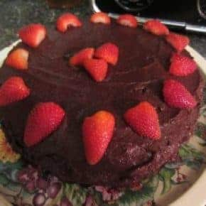 Moist Chocolate Cake with Chocolate Chip Frosting and Raspberry filling