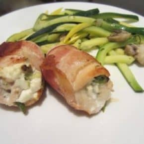 Bacon wrapped goat cheese stuffed chicken with zucchini linguine