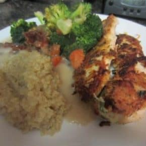 Parmesan Crusted Chicken with Quinoa and Vegetables