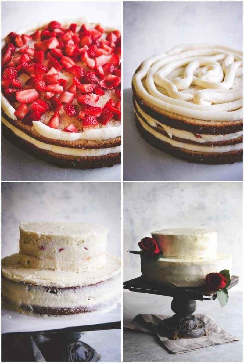 The best recipe for a rustic DIY wedding cake-white almond buttercream with strawberries