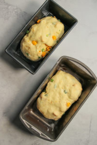 cheesy jalapeno bread in two loaf pans