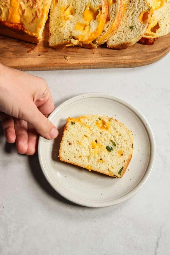 Cheesy jalapeno bread slice