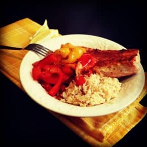 Garlic Lemon Salmon with Peppers and Brown Rice