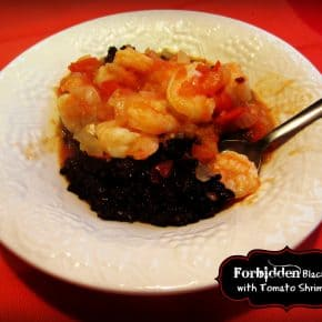 Forbidden Black Rice with Tomato Shrimp