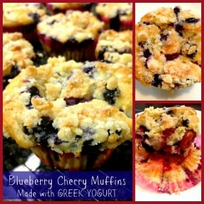 Best Muffins EVER- Blueberry Cherry Muffins made with Greek Yogurt