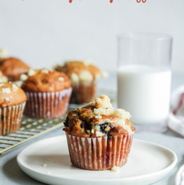 Best blueberry cherry muffins made with Greek yogurt and a streusel topping