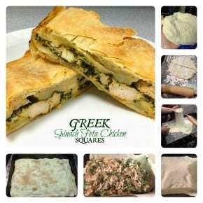 Greek Spinach Feta Chicken Squares