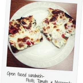 Five Ingredient Fridays – Open faced Pesto, Tomato, and Mozzarella Sandwich