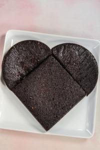 Chocolate cake shaped like a heart