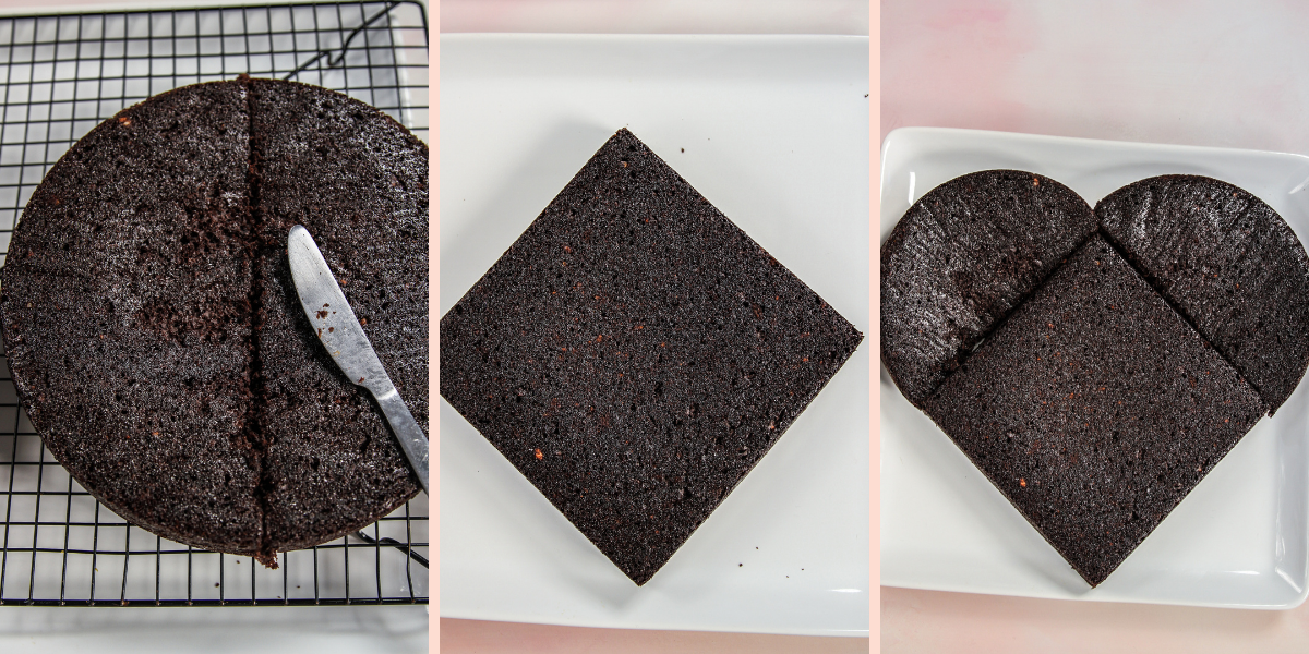 The process of making a heart shaped cake