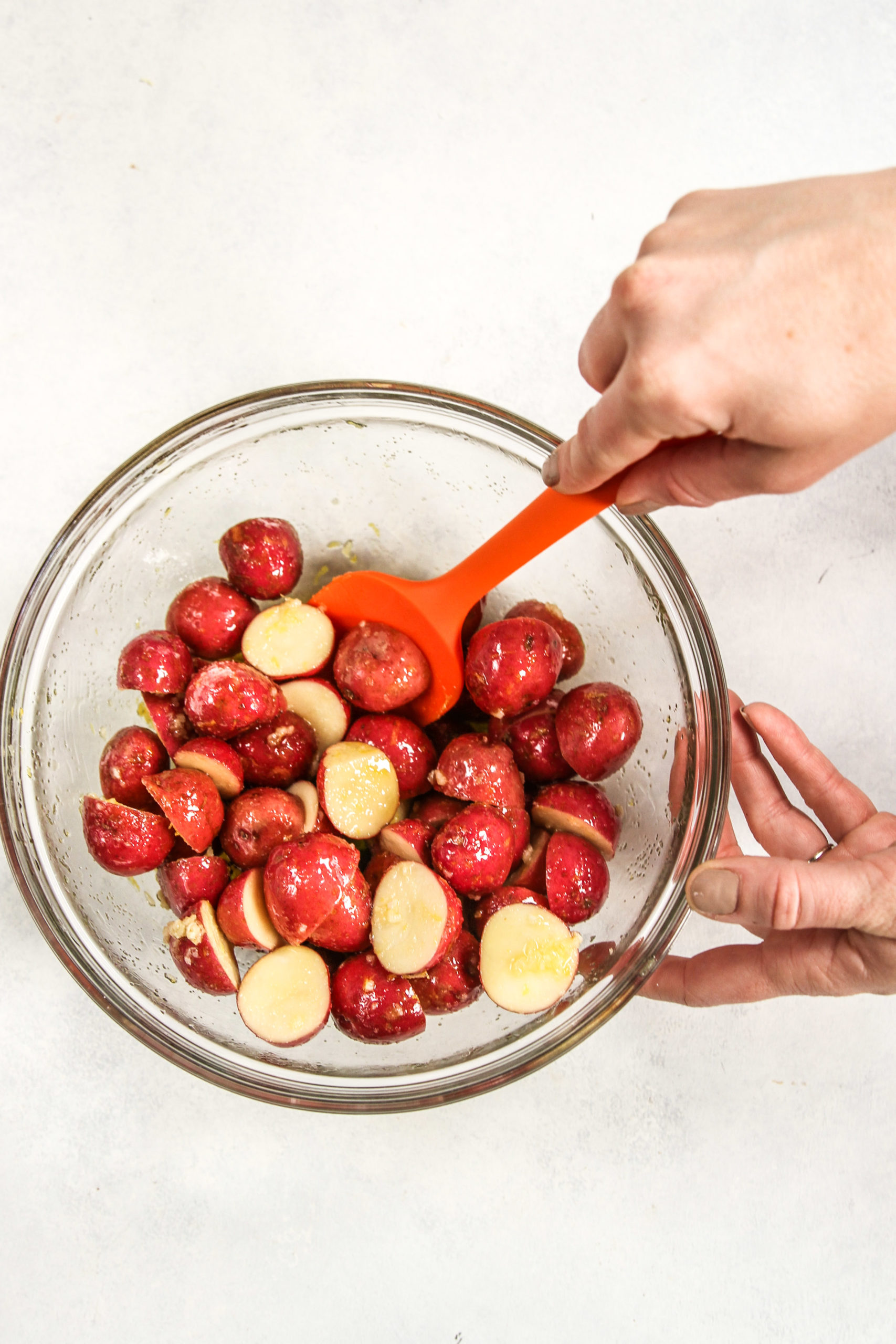 Baby red potatoes in a glass mixing bowl
