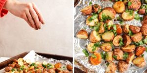 Perfectly roasted potatoes finished with a little cilantro