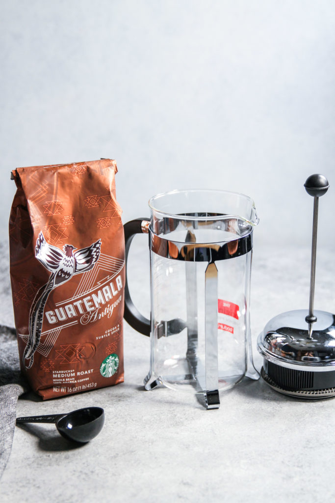 Making iced coffee with a french press at home