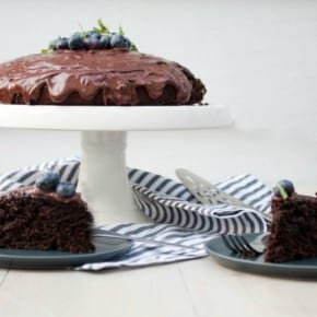 Blueberry Basil Chocolate Cake