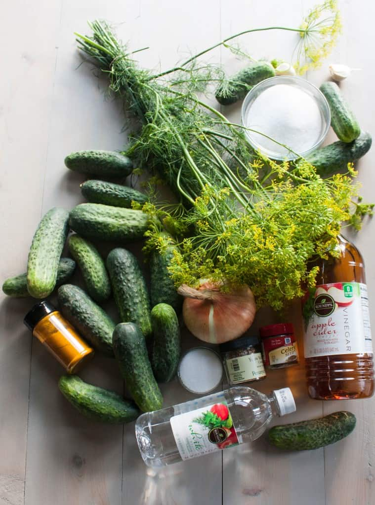 Ingredients for bread and butter pickles