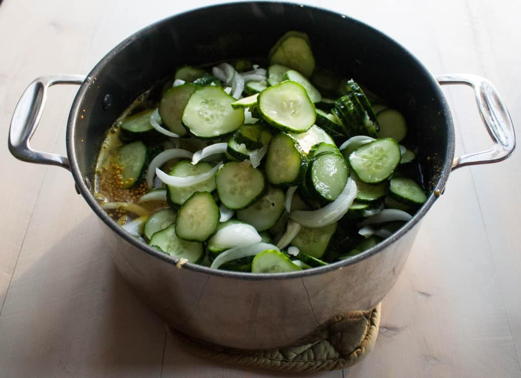 Cooking the best bread and butter pickles in a pot