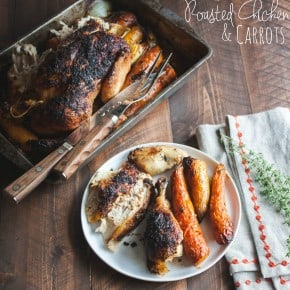 Roasted Whole Chicken & Carrots {with lemon garlic & thyme}