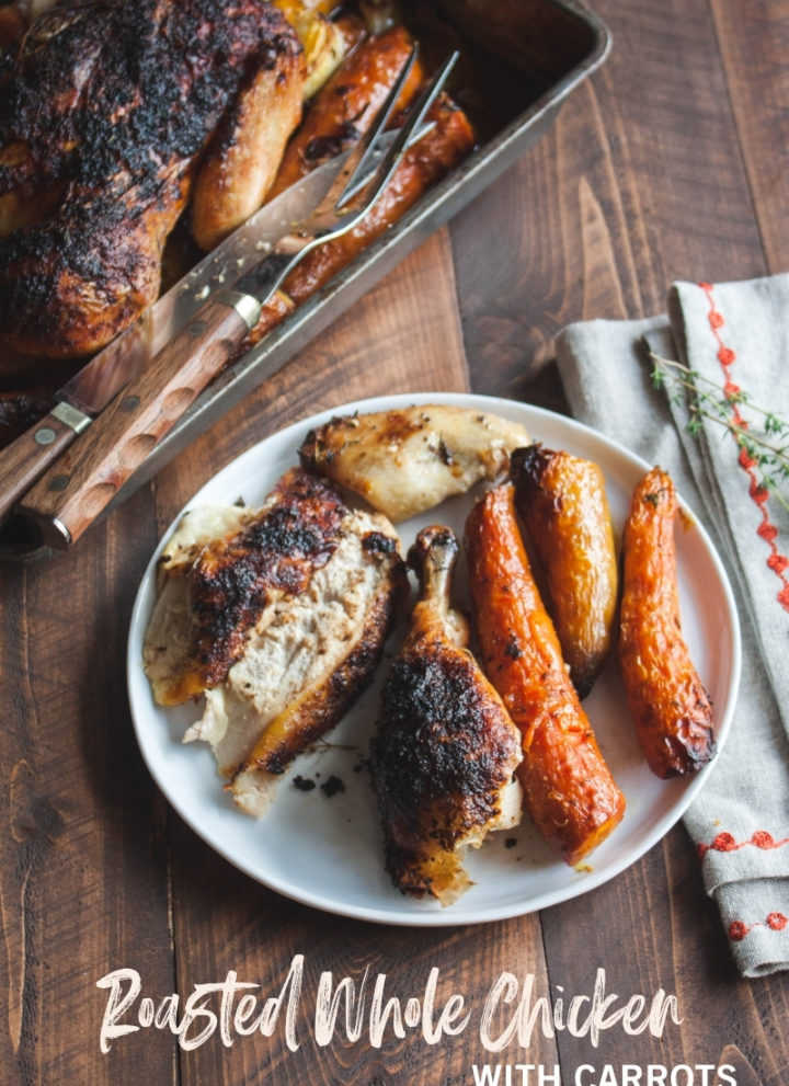 Roasted whole chicken with carrots and garlic lemon thyme