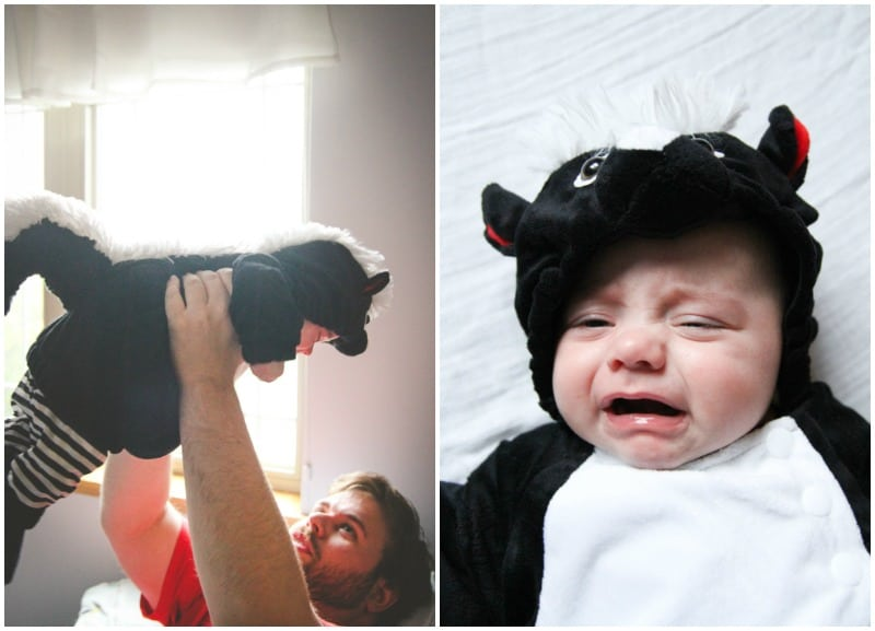 baby Halloween in skunk costume