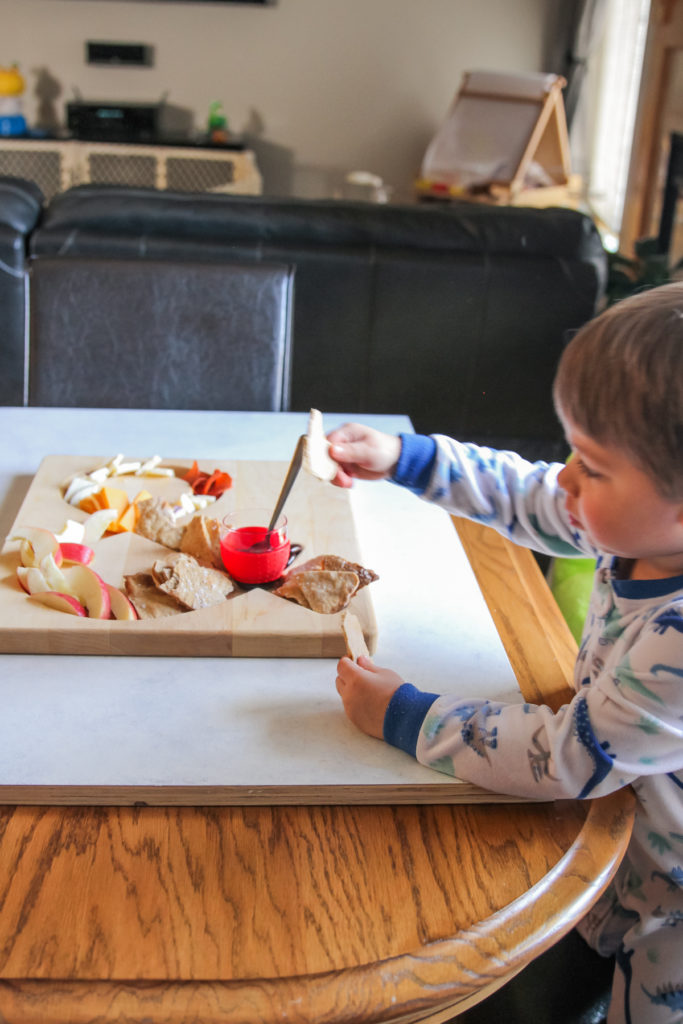 Toddler cheese and cracker board
