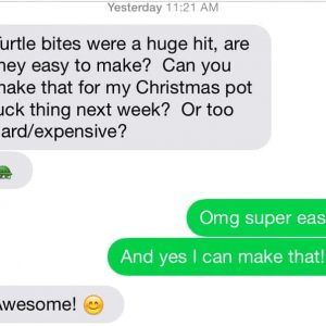 Text message about sea salt turtle cups