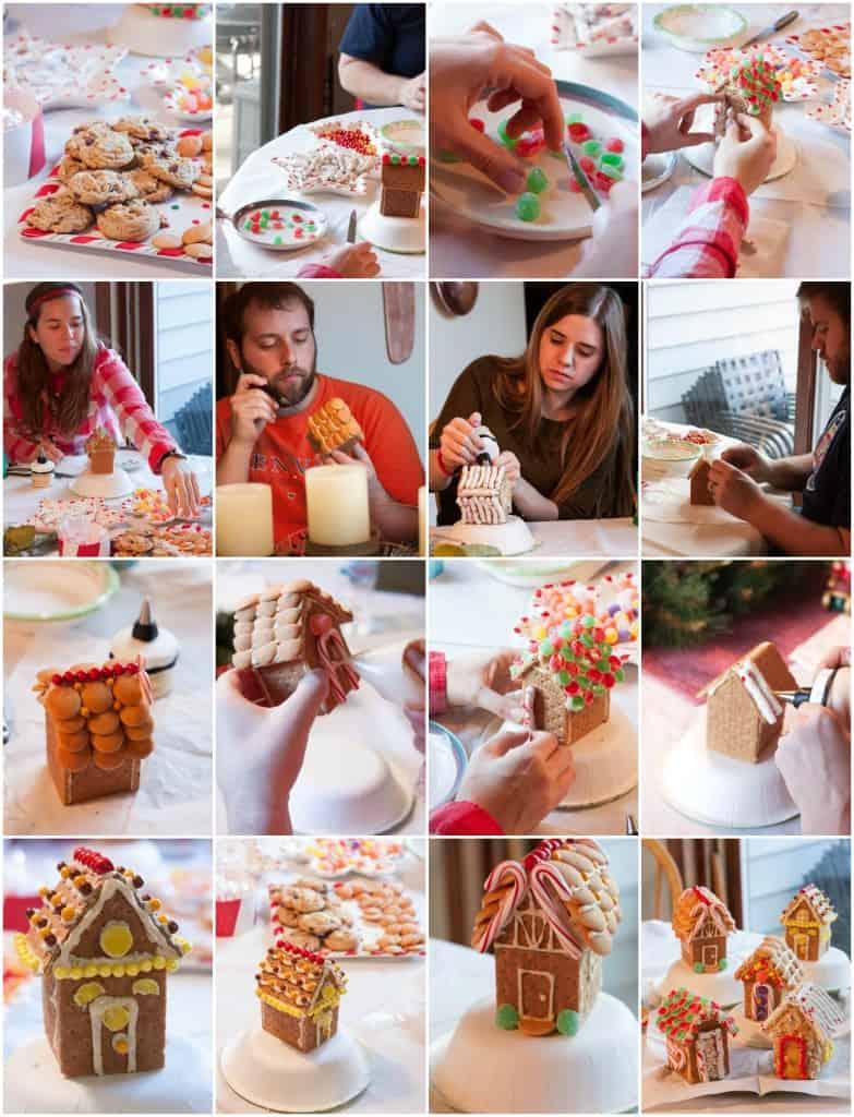 The family making graham cracker houses