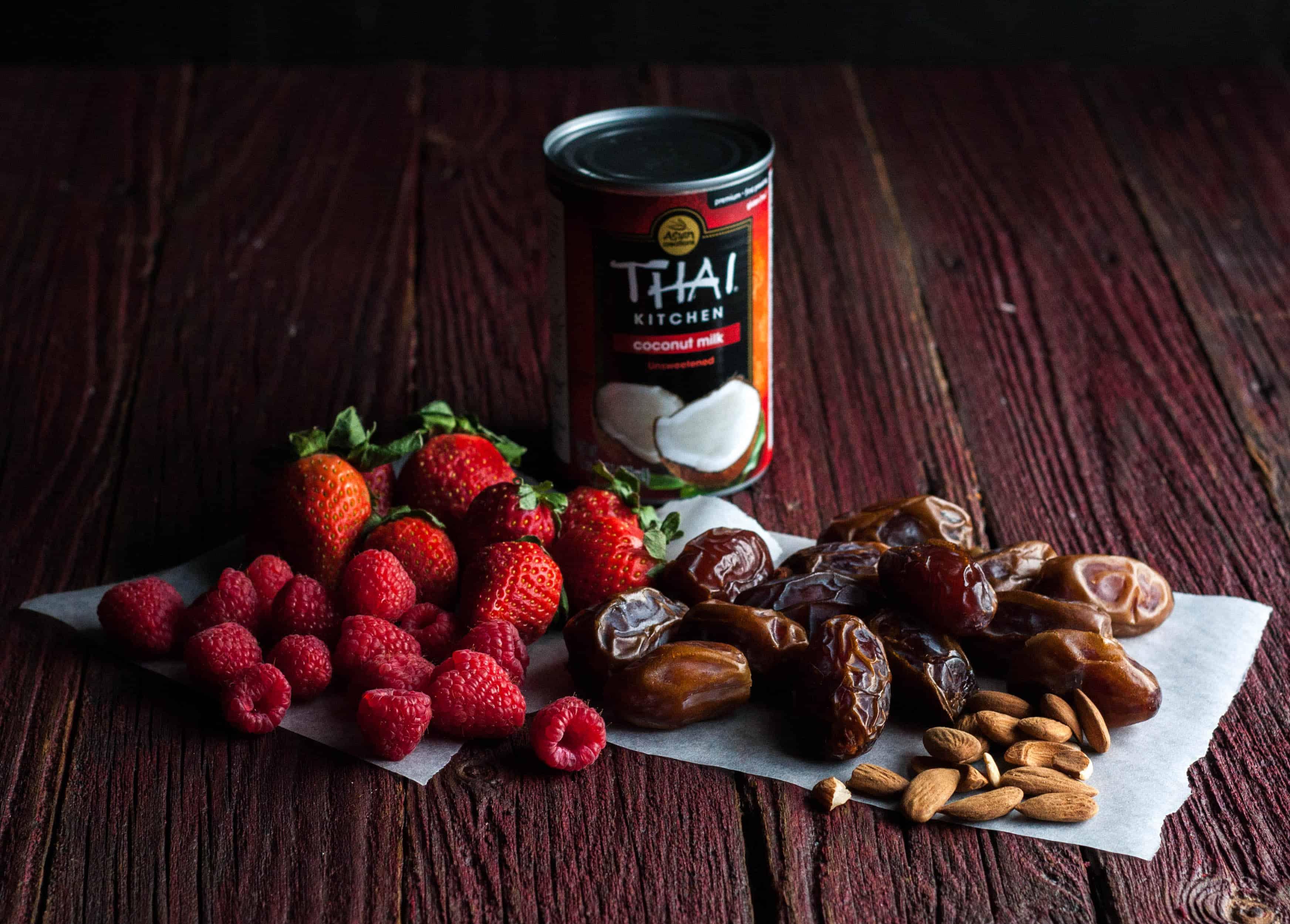 Ingredients used to make coconut cream fruit tarts