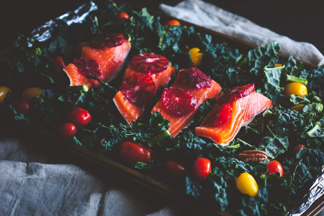The most amazing and delicious kale and salmon salad