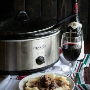 Slow Cooker Mushroom and Beef Burgundy {with mashed potatoes}