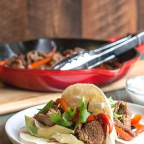 Steak fajita tacos for two