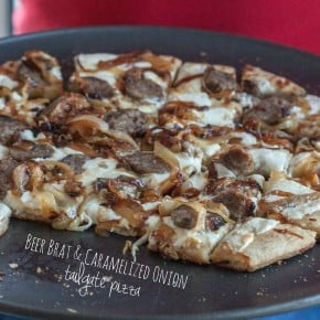 Beer brat caramelized onion tailgate pizza