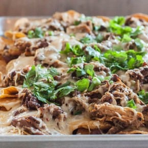 The Best Nachos Ever {pulled pork, pinto beans, green chiles, and 2 cheese nachos}