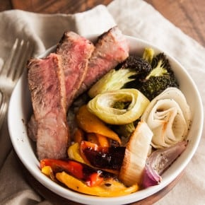 Steak and roasted veggie bowls from @sweetphi