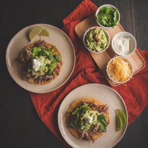 5 Ingredient Mexican Shredded Beef and Beef Tostadas