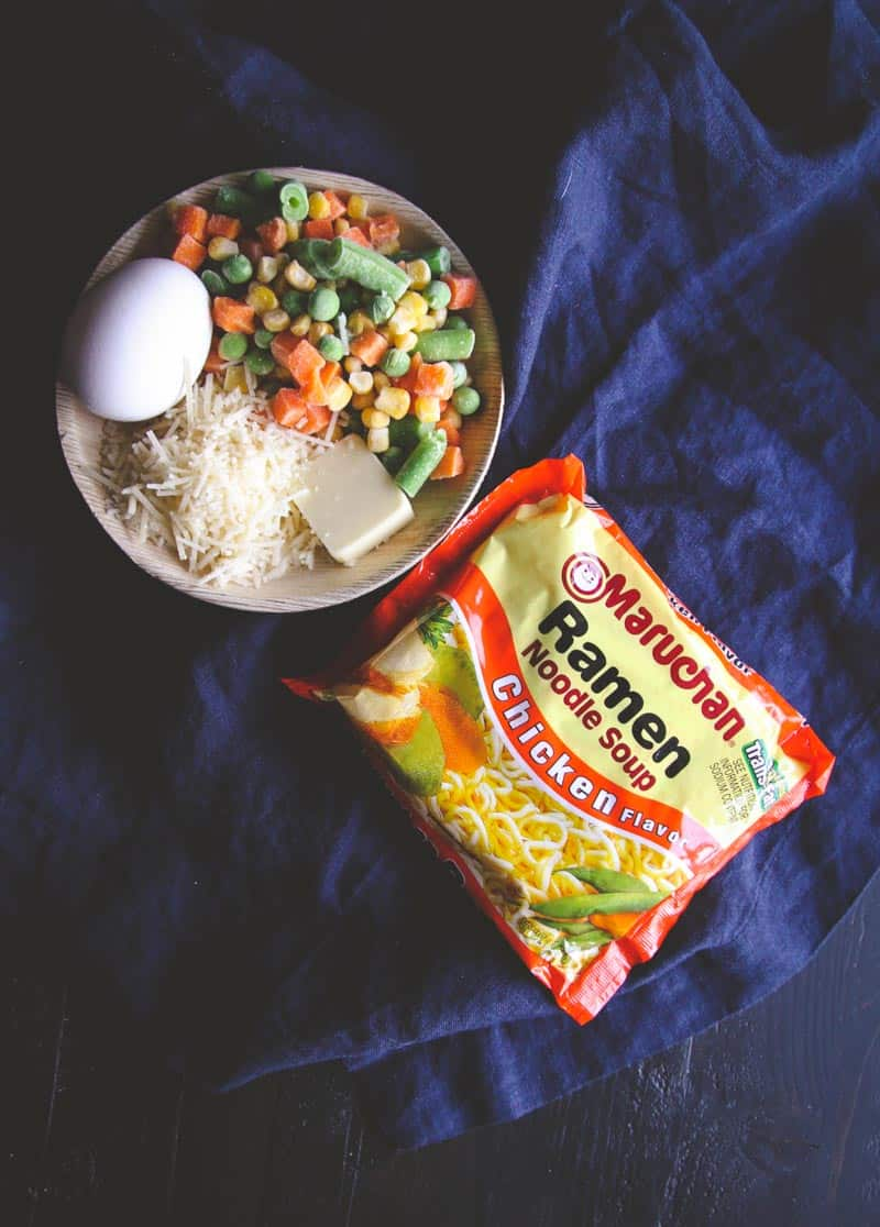 The best ever 5 ingredient ramen with an egg dinner
