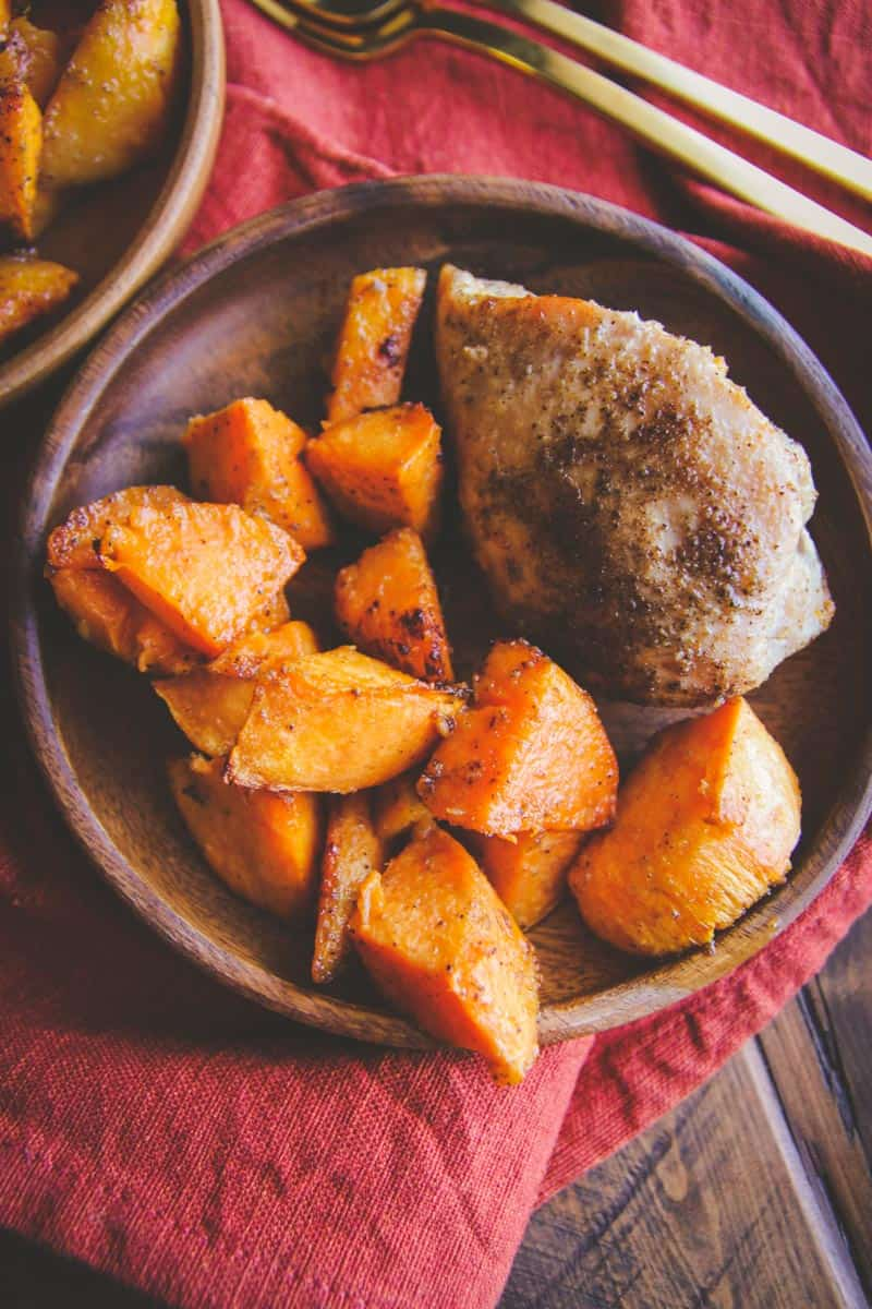 5 Ingredient baked chicken and sweet potatoes