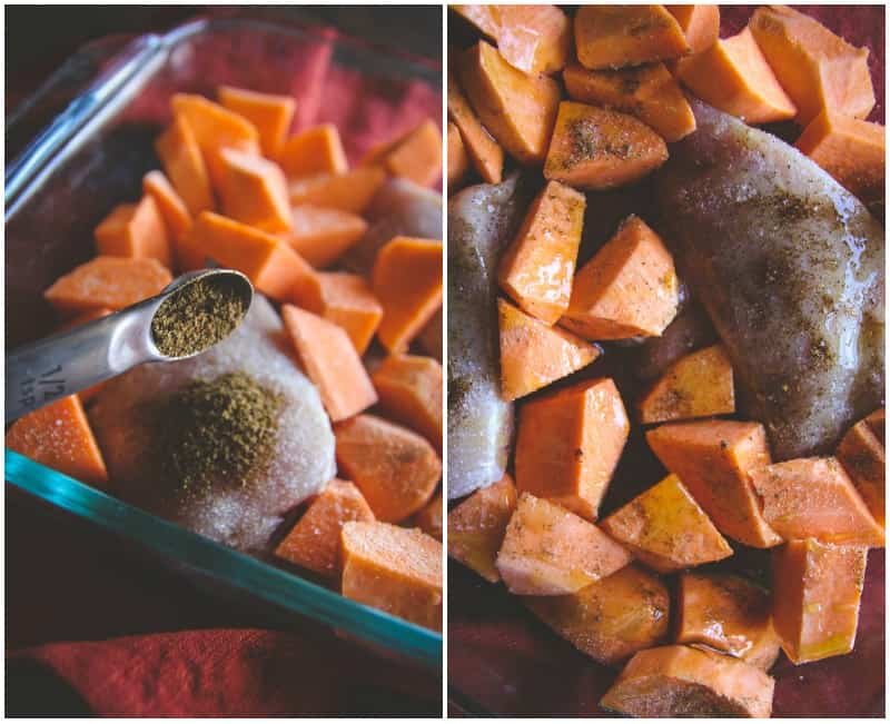 Easy and Healthy Baked Chicken and Sweet Potatoes for Two