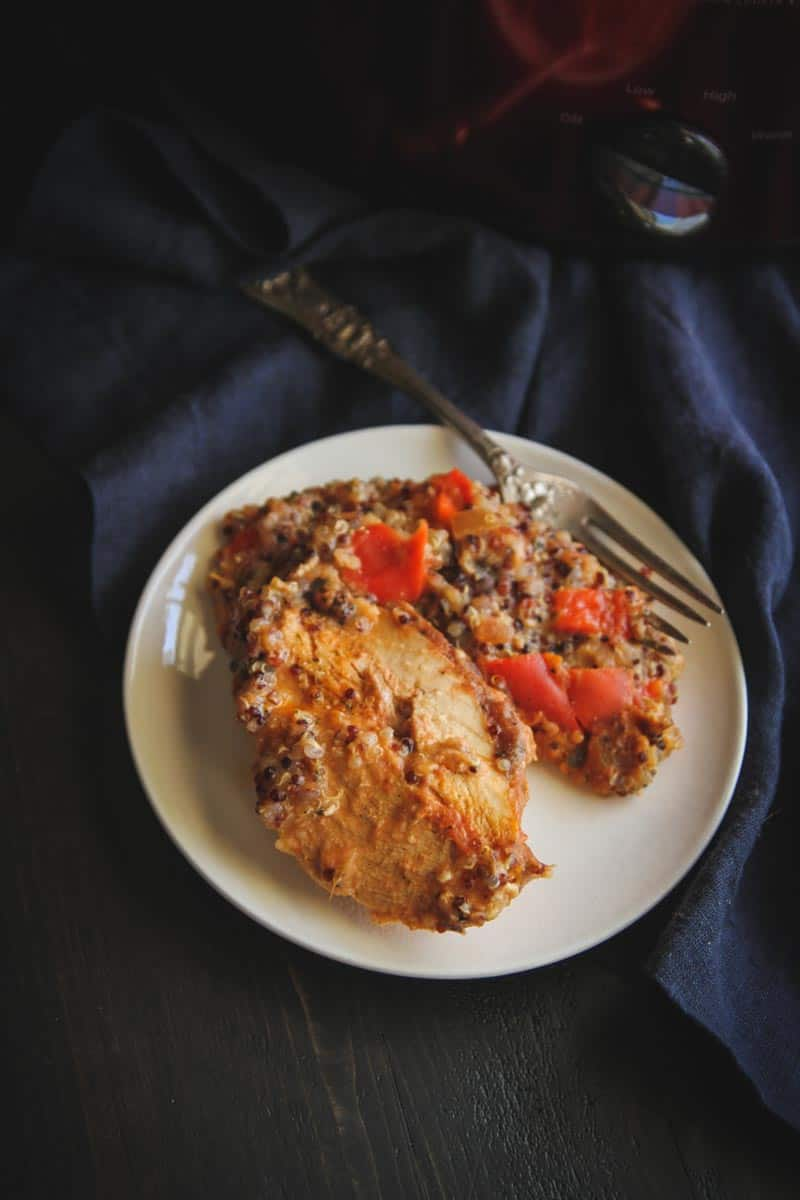 Easy and flavorful crockpot salsa chicken and quinoa
