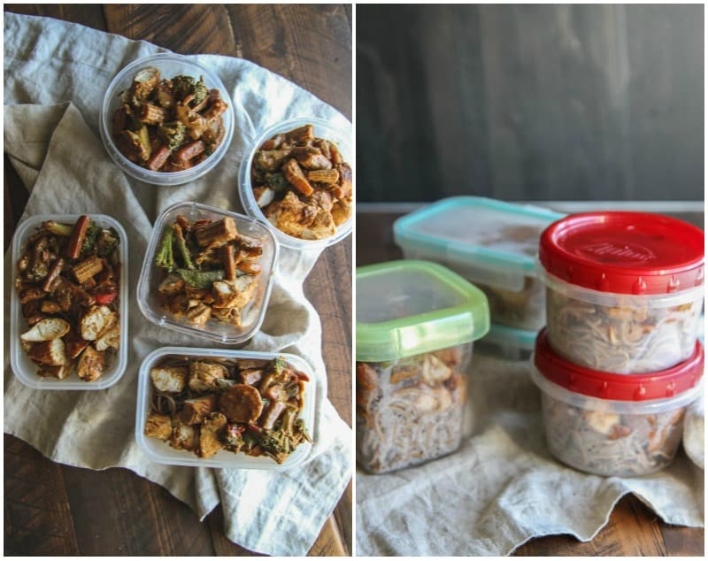 Chicken stir fry soba noodle bowls for healthy meal prep