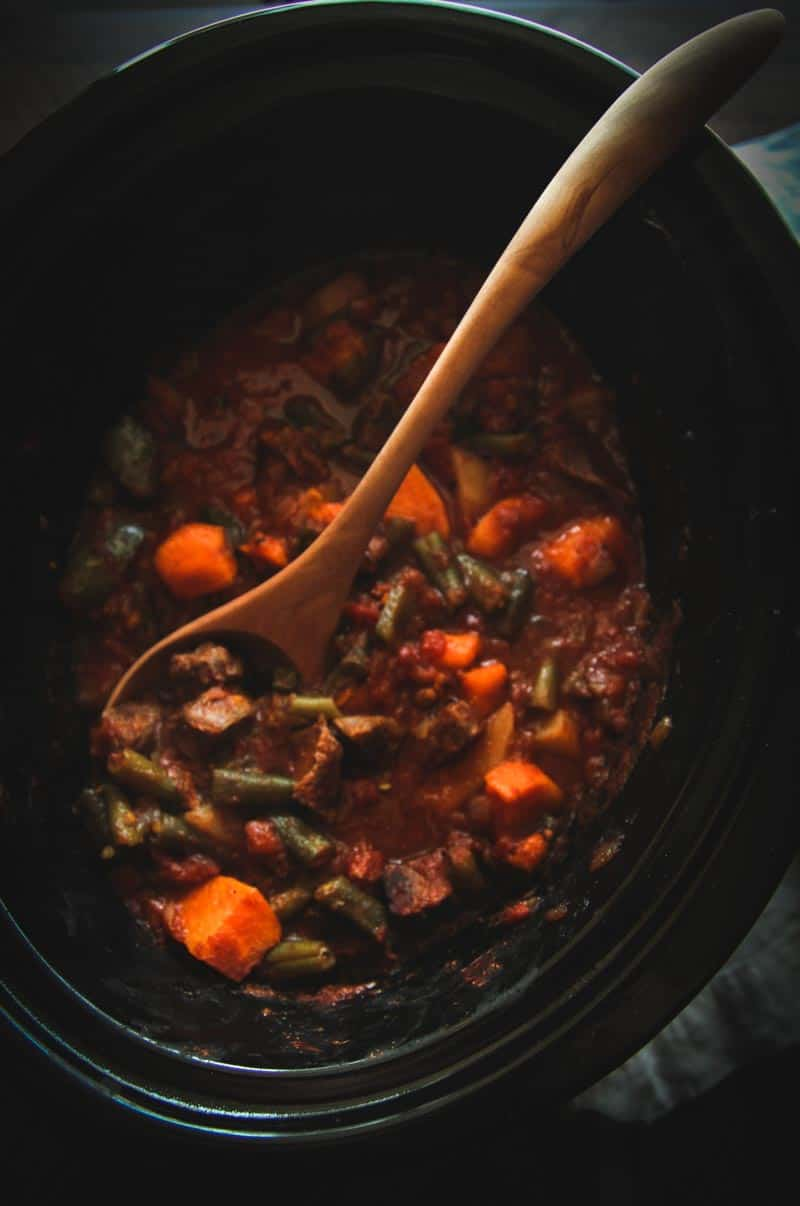 This slow cooker beef and sweet potato stew is warm, delicious and comforting