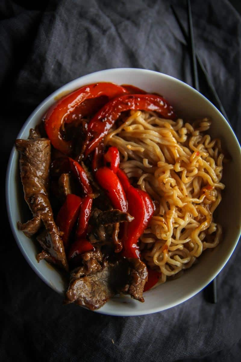 Budget friendly dinner idea for beef and pepper ramen