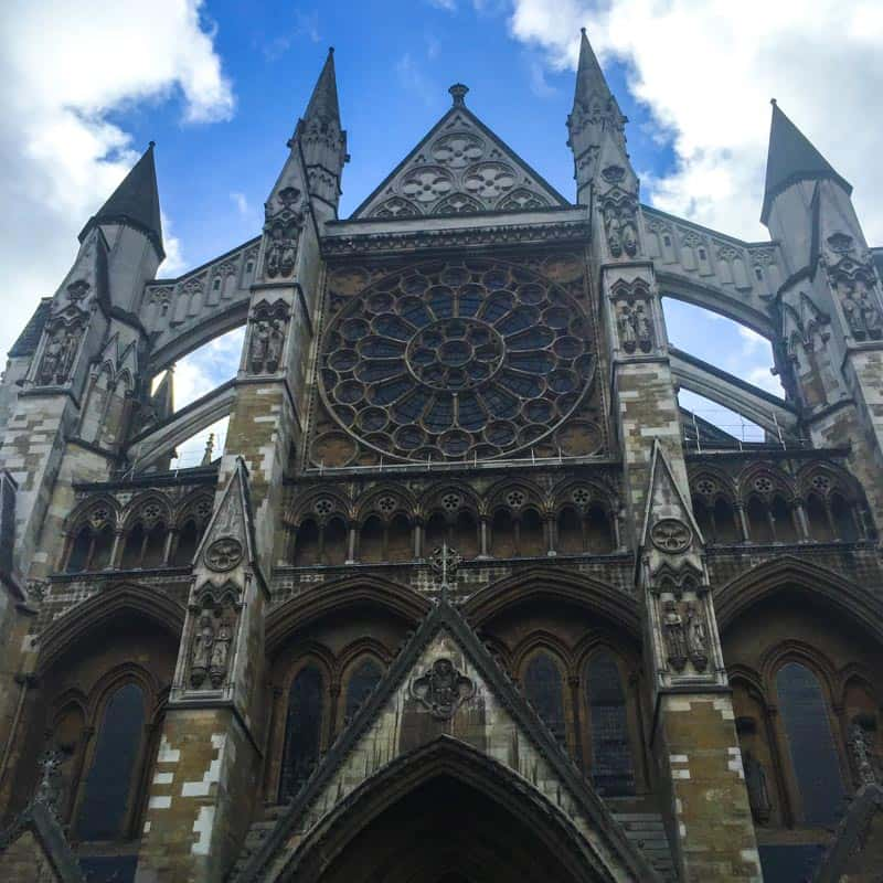 Visiting the large and ornate Westminster Abbey in London