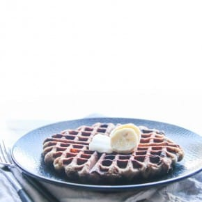Whole wheat banana chocolate chip waffles from @sweetphi