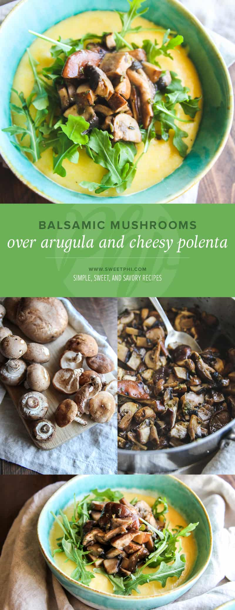 The best balsamic mushrooms over arugula and cheesy polenta - a great meatless Monday gluten free dinner