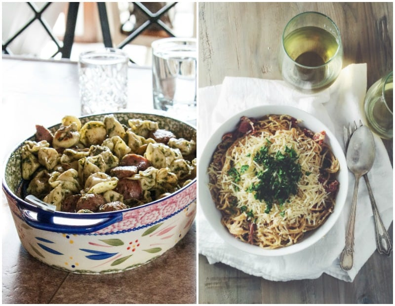 The best 4-ingredient dinner with tortellini, chicken sausage, and pesto