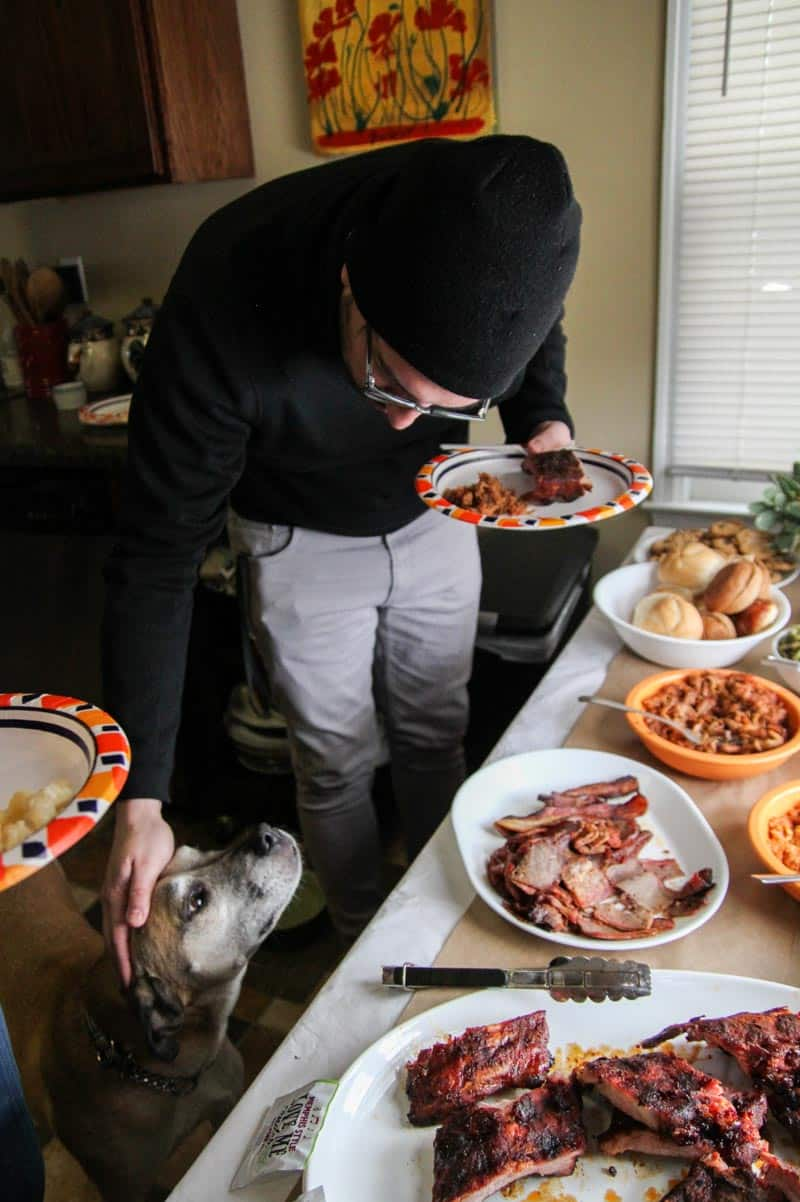Even a dog loves this bbq and sides for March Madness!