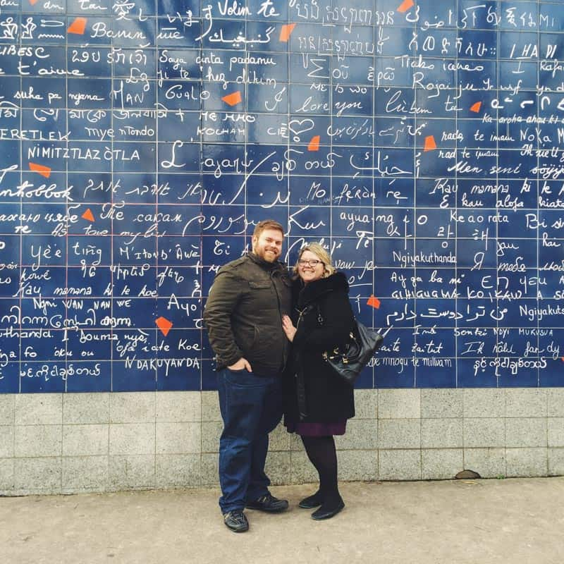 We loved standing in front of the Wall of Love in Montmatre Paris