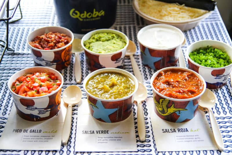 A variety of salsa from Qdoba for throwing an easy Cindo de Mayo Fiesta