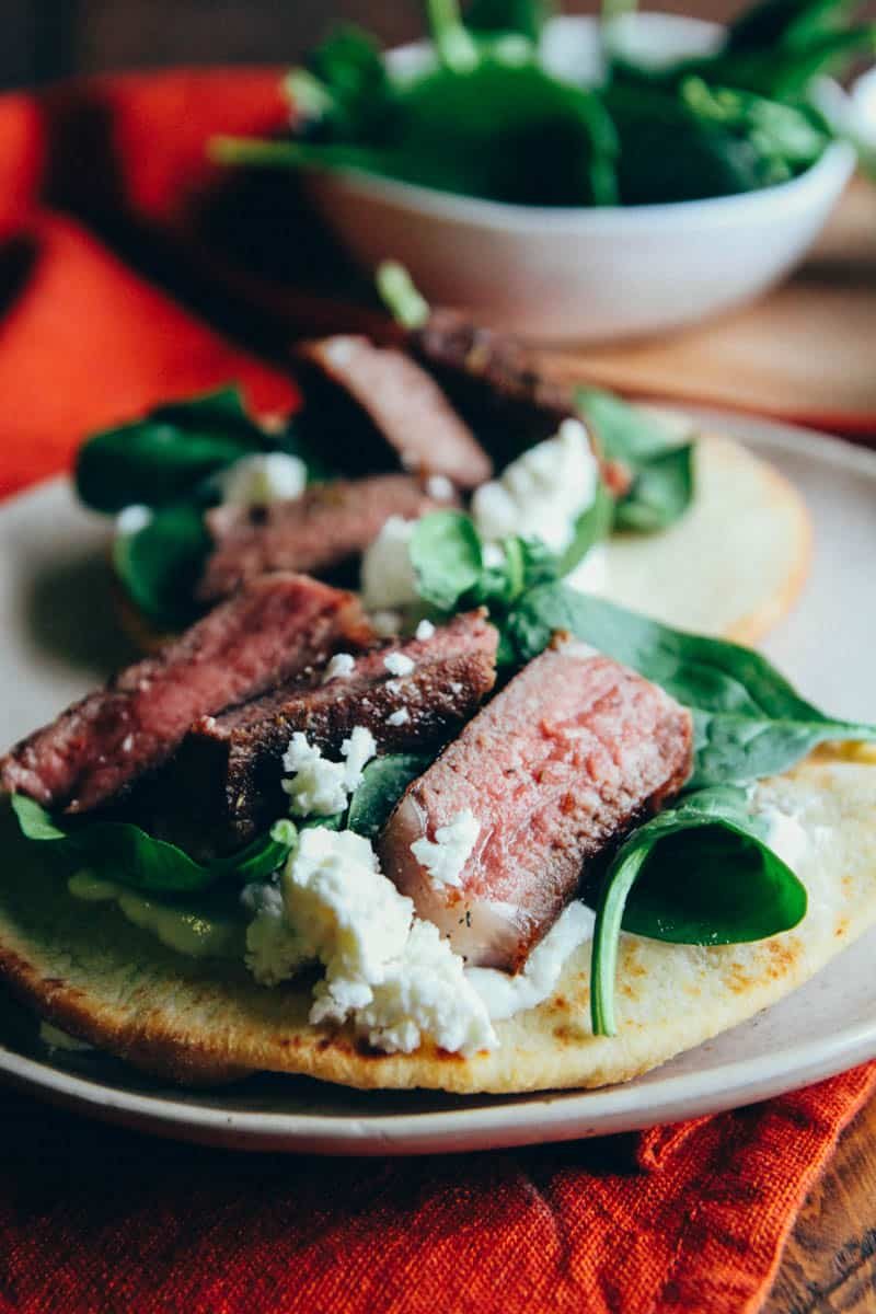 The Best Lamb Chop Pitas {with spinach, feta, and yogurt}
