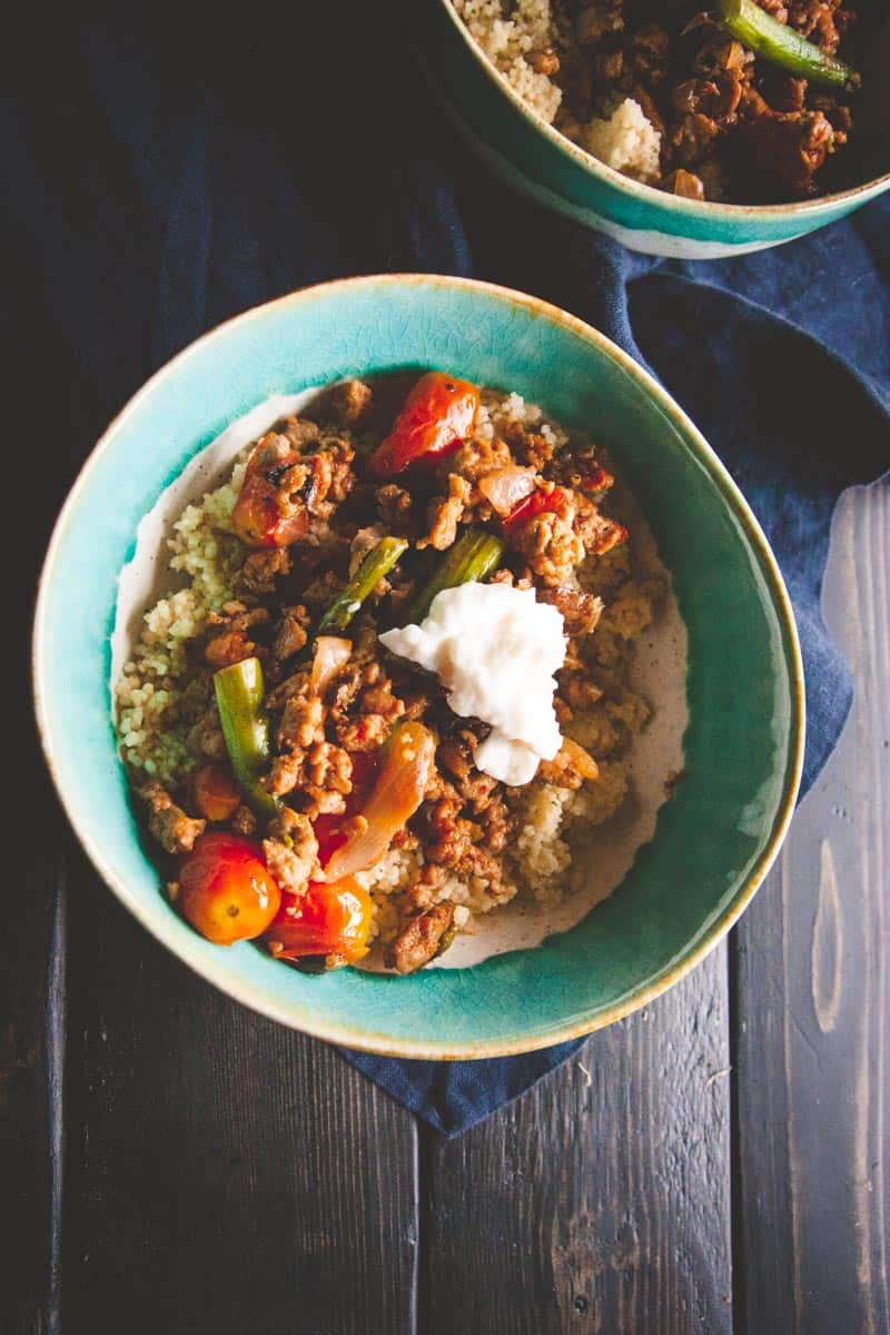 The perfect quick meal with Italian turkey sausage couscous bowls